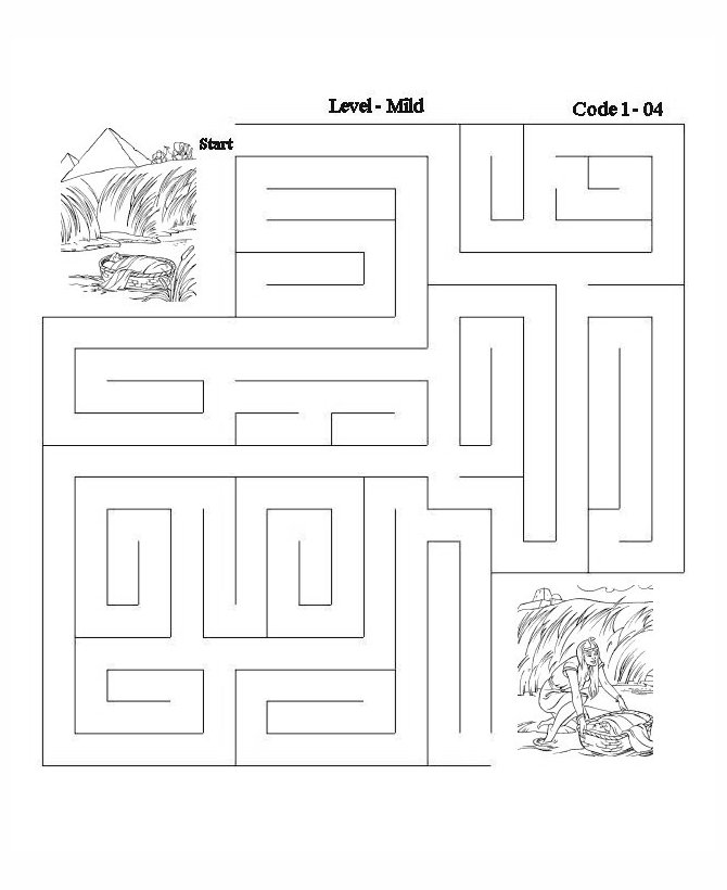 Bible Maze Activity Sheet Baby
