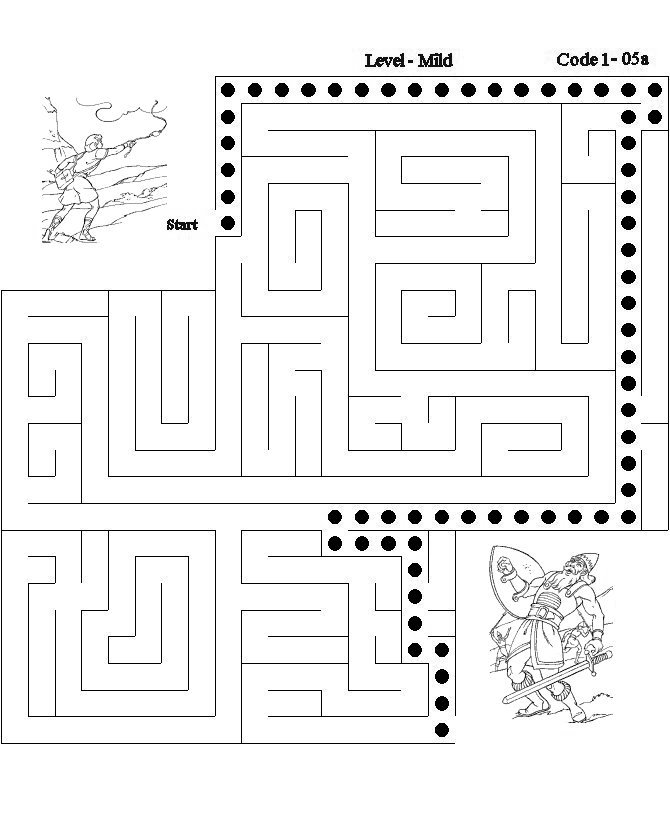 Bible Maze Activity Sheet answer - David and Goliath| Bible-Printables