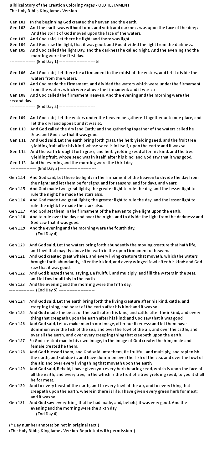 Bible Creation story Text King